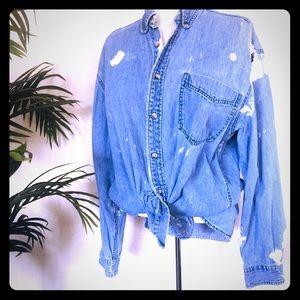 Vintage Acid Wash Distressed Button Up Long sleeve